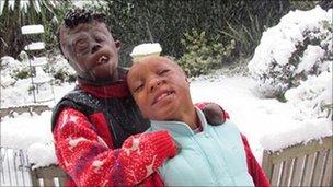 Dorah Mokoena, 16 (left) with her brother Sizwe Hlope, 10