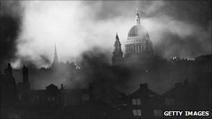 St Paul's Cathedral wreathed in smoke
