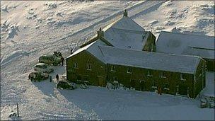 Pub in the snow
