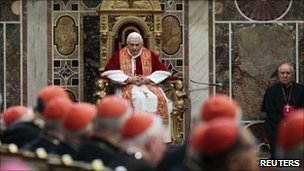 Pope Benedict during the traditional exchange of Christmas greetings to the Curia at the Vatican, 20 December 2010