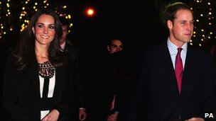His Royal Highness Prince William and Catherine Middleton at a charity gala on Sunday