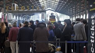 Crowds at Gare du Nord in Paris