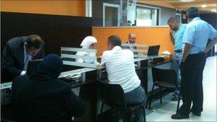 Inside the Citizen Service Centre, Damascus