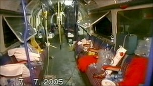 The inside of the Russell Square carriage