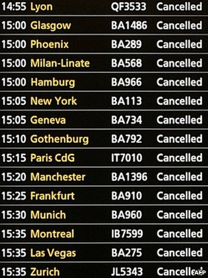 Heathrow flight information board