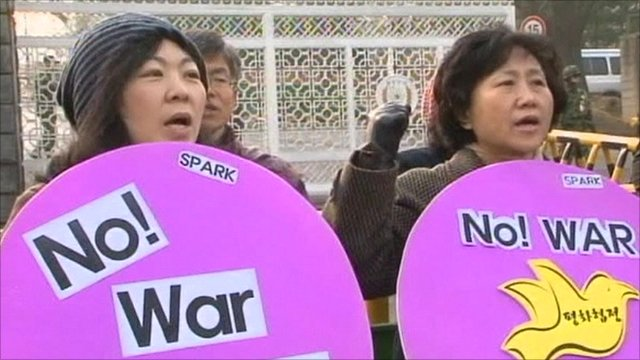 South Koreans protesting against the drills