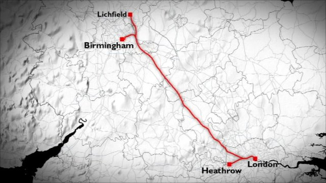 Map of proposed high speed rail link