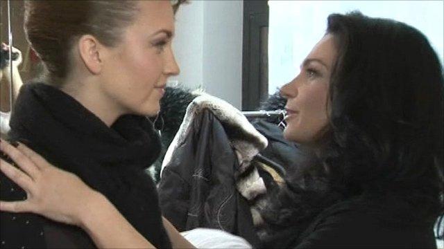 Women in a Latvian clothes shop