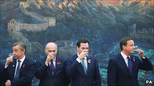 Michael Gove, Vince Cable, George Osborne and David Cameron in China