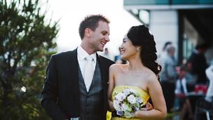 Nick and Jeongeun Chaddock on their wedding day