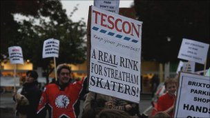 Protests against the Streatham Ice rink development at Lambeth Town Hall in October