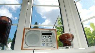 Radio on a window sill
