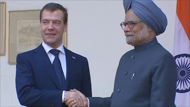 Russian President Dmitry Medvedev with Indian Prime Minister Manmohan Singh