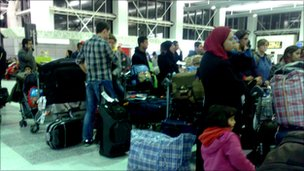 Qatar Airways passengers at Manchester Airport