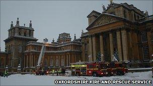 Fire engines outside Blenheim Palace