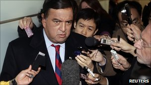 US diplomatic troubleshooter Bill Richardson speaks to the media upon his arrival at Beijing airport from North Korea