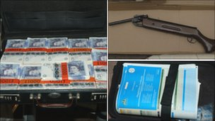 A briefcase full of cash, a gun and blank vehicle documents