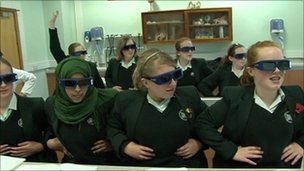Girls in a classroom having a lesson in 3D