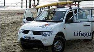 RNLI lifeguard vehicle on Boscombe beach