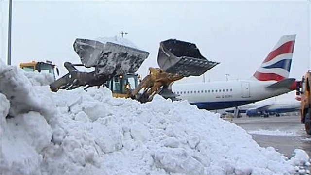 Snow being cleared at Heathrow airport