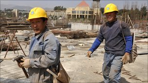 Chinese workers at the site of a new African Union conference centre in Ethiopia