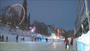 Christmas ice rink in Edinburgh