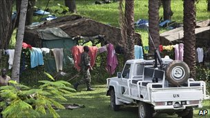 United Nations soldiers in tents in the Golf Hotel's garden,, in Abidjan, Ivory Coast