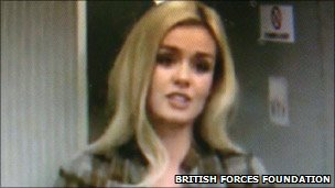 Katherine Jenkins sings for the troops on board the plane