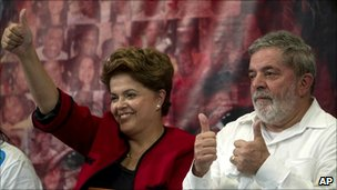 President Lula and his successor Dilma Rousseff give the thumbs up