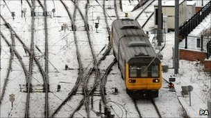 A train travelling in wintry conditions