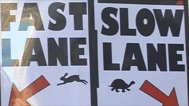 Fast lane, slow lane sign