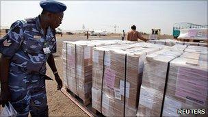 Ballot boxes at Juba airport, south Sudan