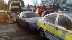 BMW being removed from Tesco on Wragby Road