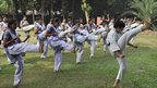 Students at Sheikh Fazilatunnesa Mujib Women's College learn karate