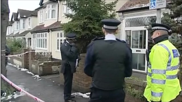 Police outside the property where the attack took place