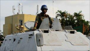 UN peacekeeper in Abidjan, 24 Dec 10