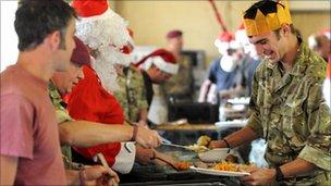Soldiers in Afghanistan having Christmas dinner