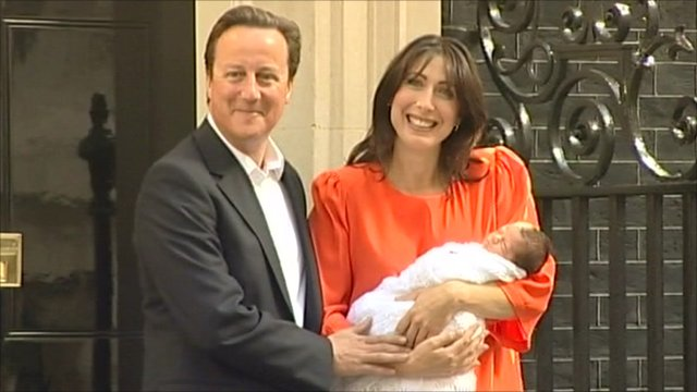 David and Samantha Cameron with baby Florence Rose Endellion