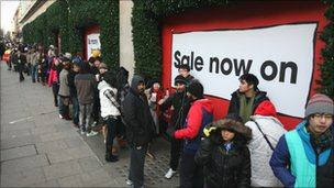 Shoppers queuing for sale