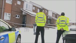 Police guard flats at Calshot Walk