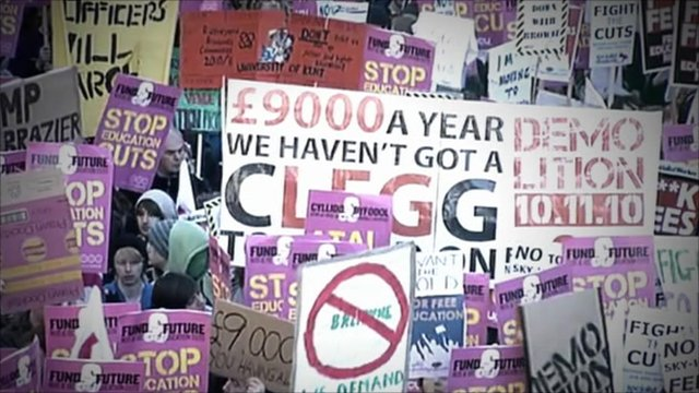 Students protest tuition fee rises