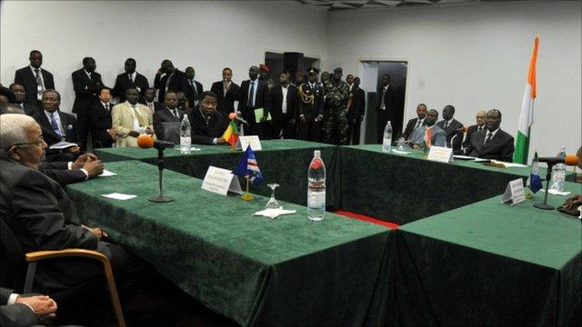 Cape Verde President Pedro Pires, Boni Yayi of Benin, and Alassane Ouattara