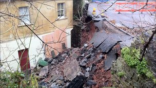 The collapsed wall in Windsor Place