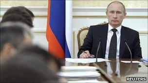 Russian Prime Minister Vladimir Putin with cabinet, 29 Dec 10