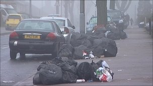 Rubbish bags in Kingstanding
