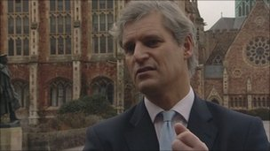 Mark Moore outside Clifton College