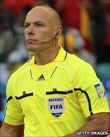 Howard Webb refereeing during the World Cup