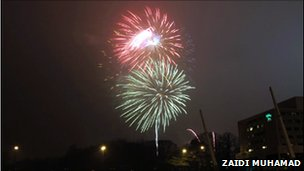 Fireworks explode near the Millennium Stadium in Cardiff as 2009 begins (Picture: Zaidi Muhamad)