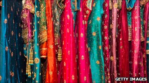 Traditional Rajasthan bridal wear in a shop in Japiur, India 17 October 2010