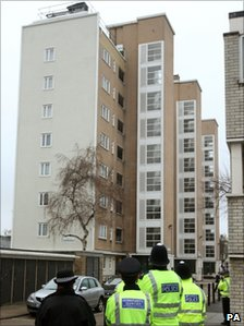Officers outside Heron House, on the Pelican Estate